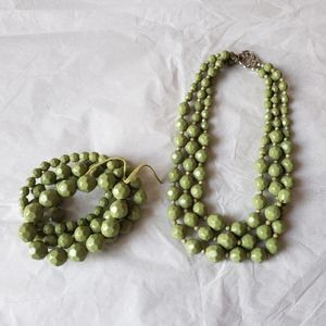 Jewelry - Avocado Green beaded statement necklace & bracelet